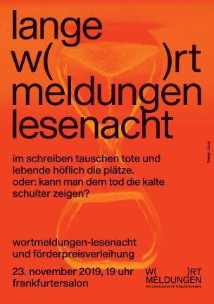 Flyer WORTMELDUNGEN Lesenacht 23.11.2019